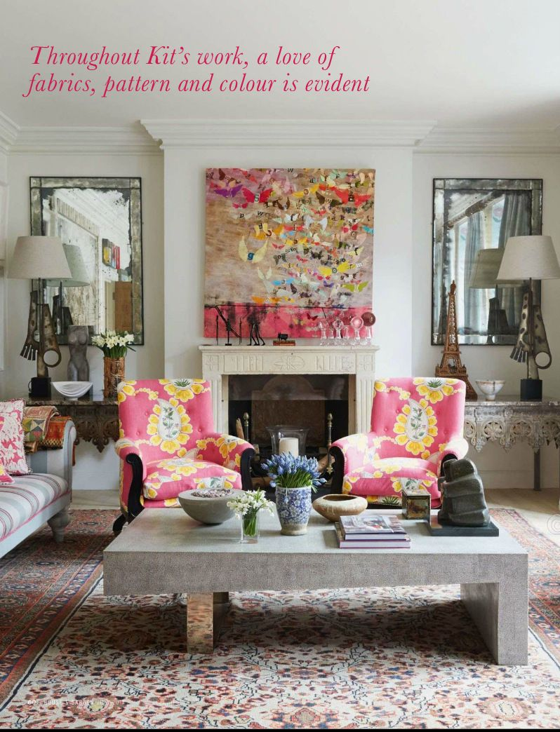 Eclectic style living room with peony pink peps of color featured in