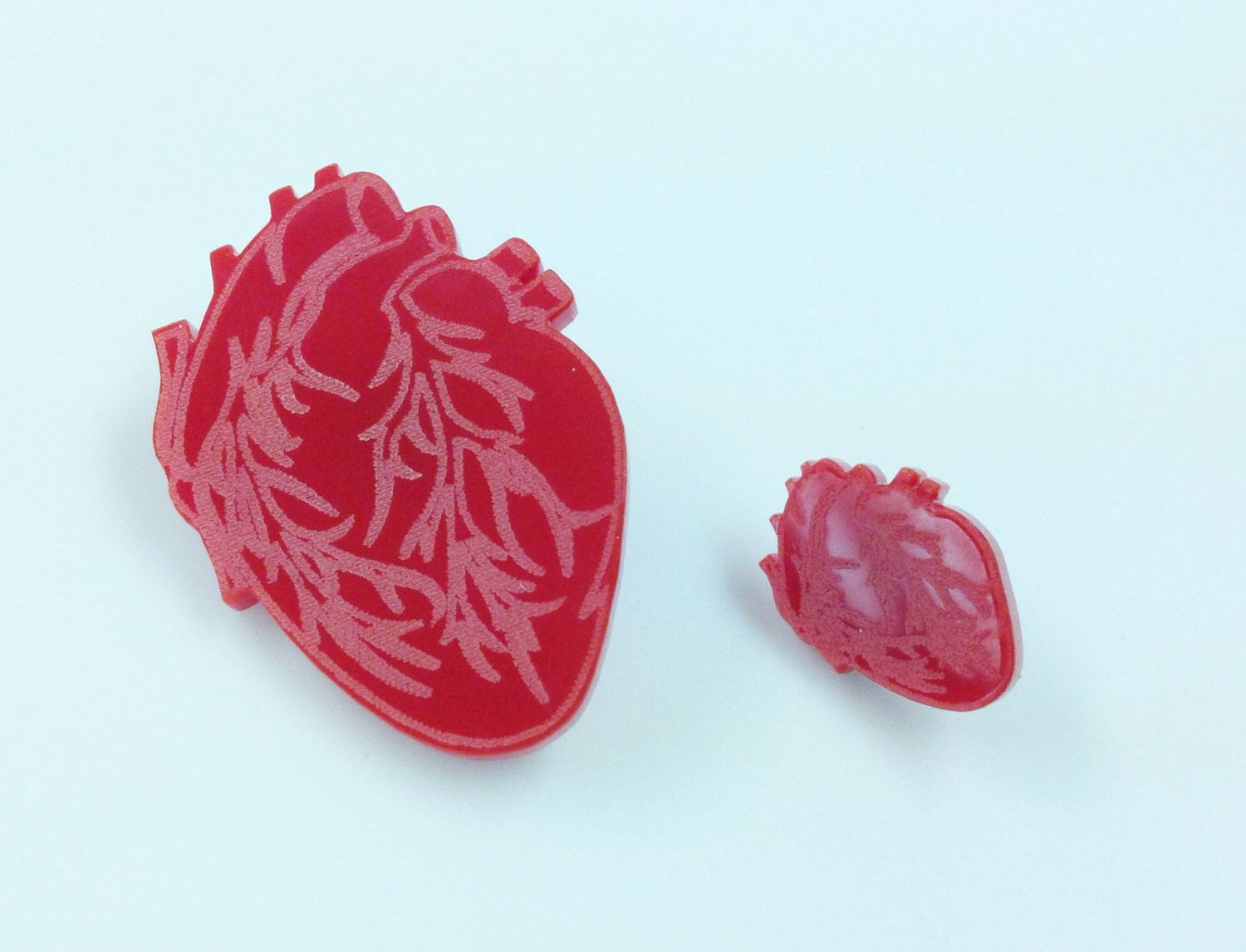 Red Anatomical Heart Lasercut Brooch Pin. by MaddisonCherie on Etsy https://www.etsy.com/listing/205007311/red-anatomical-heart-lasercut-brooch-pin