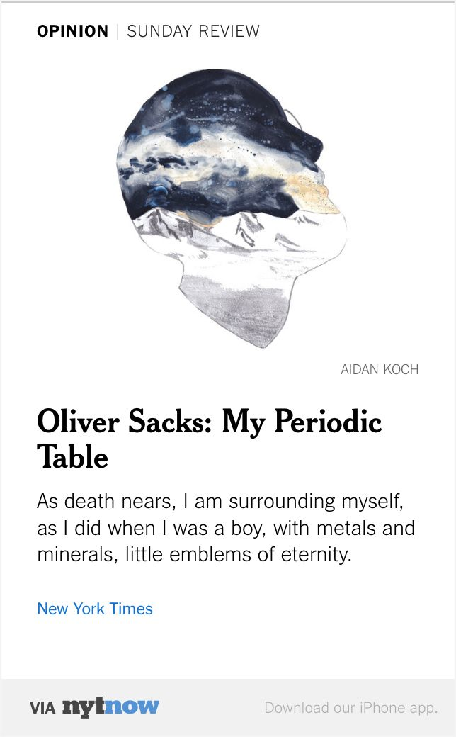 Nyt Now Oliver Sacks My Periodic Table Httpnyti1ix4q0s