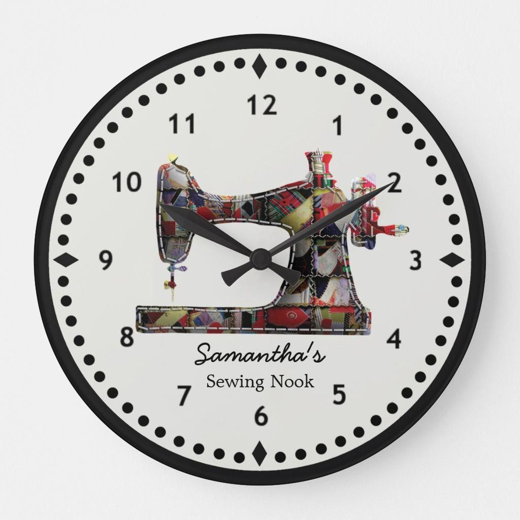 Patchwork Quilt Sewing Machine Wall Clock In 2020 Sewing Machine Quilting Quilting Room Wall Clock