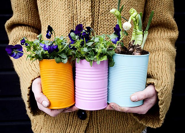 Bright colors can give old soup cans new life.