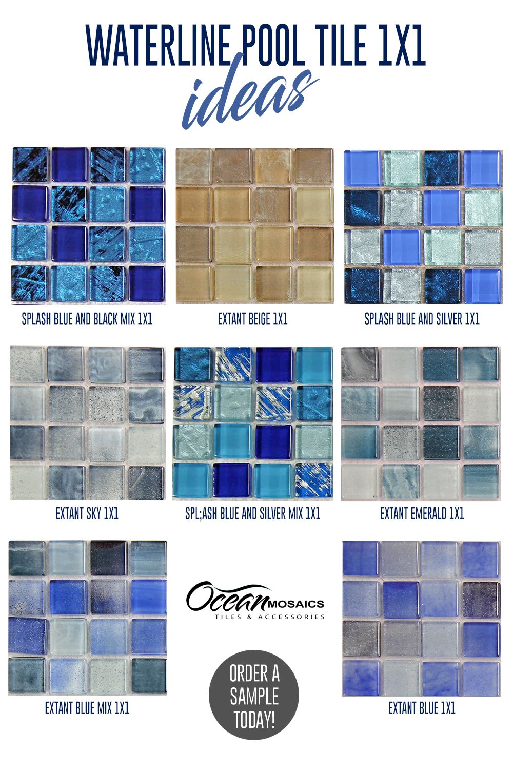 Waterline Pool Tile Ideas 1x1 In 2020 Waterline Pool Tile Pool Remodel Mosaic Pool Tile