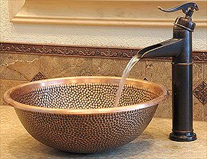 Copper Bowl Sink With Bronze Finish Faucet Bathroom