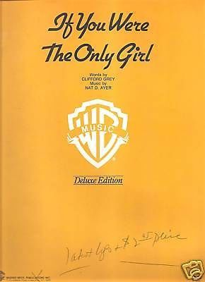 Sheet Music 1961 If You Were The Only Girl Nat D. Ayer 98