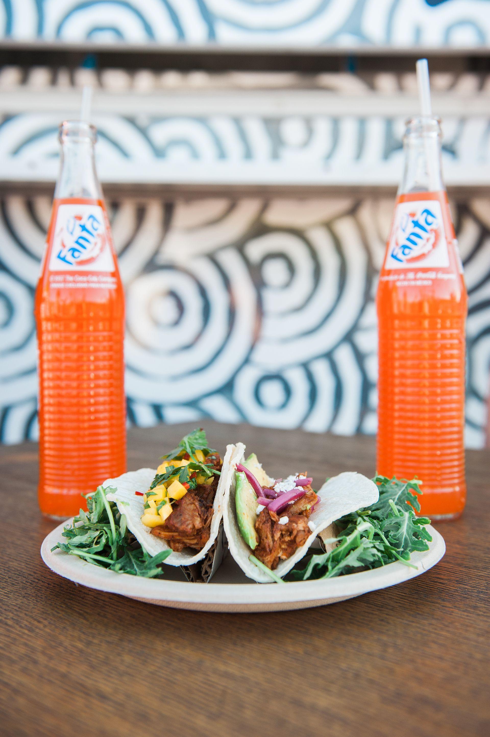 Wedding Reception Food Ideas Tacos Fanta Bottles Mexican Food