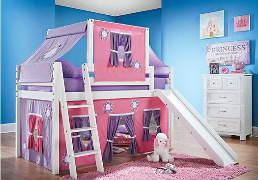 Picture Of Pink Cottage White Jr Tent Loft Bed With Slide And Top From Bunk Beds Furniture Bunkbedwithstairsandslide