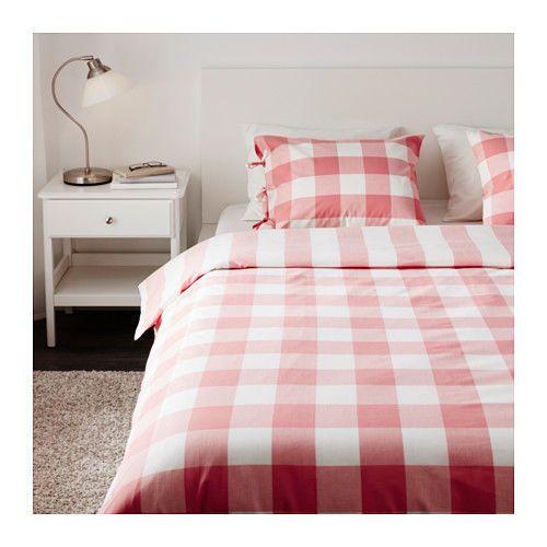 Ikea Emmie Ruta Queen Full Bed Duvet Cover Pink White Check Bed Duvet Covers Pink Duvet Cover Home Decor Furniture