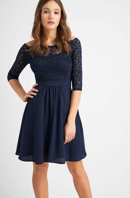 Glockenkleid mit Spitze - Blau | Kleider konfirmation ...