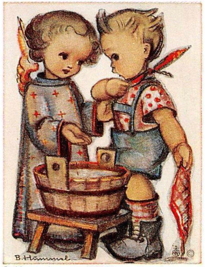 """vintage unused  greeting cards  ARS SACRA   B.I.Hummel /""""the paper/""""495/"""""""