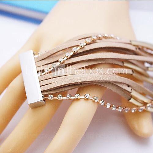 couro charme braceletsalloy handmade multicamadas de jóias pulseira de couro de 2016 por $6.99