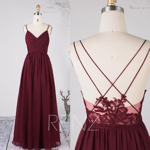 3f6a7119edd56 Bridesmaid Dress Wine Chiffon Dress Wedding Dress Spaghetti Straps ...