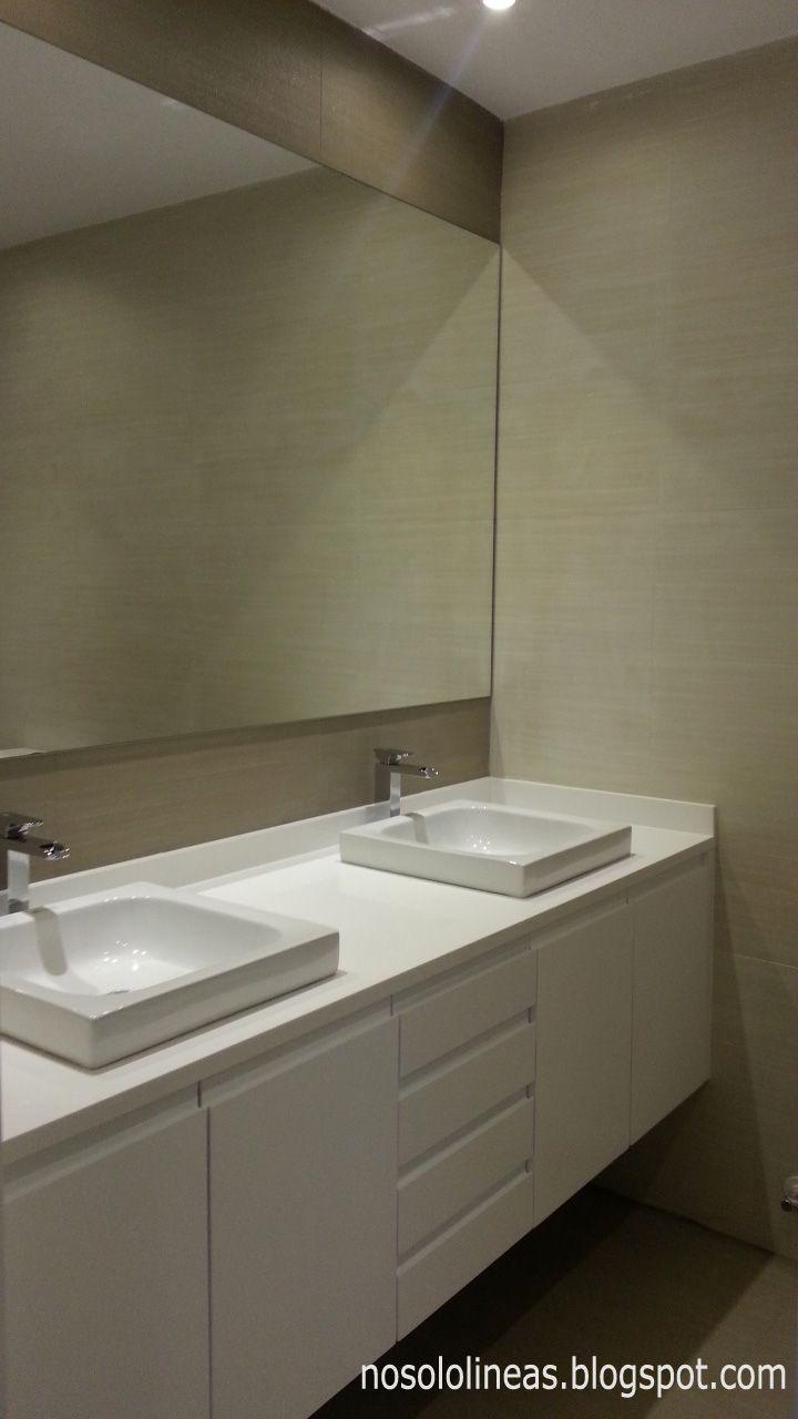 Baño. Encimera de Corian, lavabos semiencastrados modelo Eva 40x40 ...