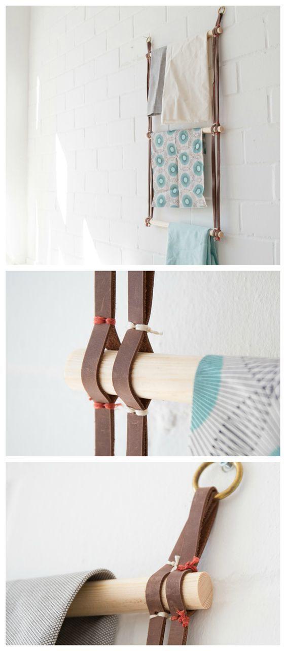 DIY-Anleitung Leiter für Handtücher aus Leder und Holz selber - bilder fürs badezimmer
