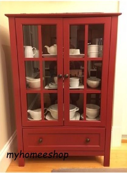 Gentil Kitchen Tall Curio Storage Display China Cabinet 2 Glass Door Drawer Wood  Red #Unbranded #