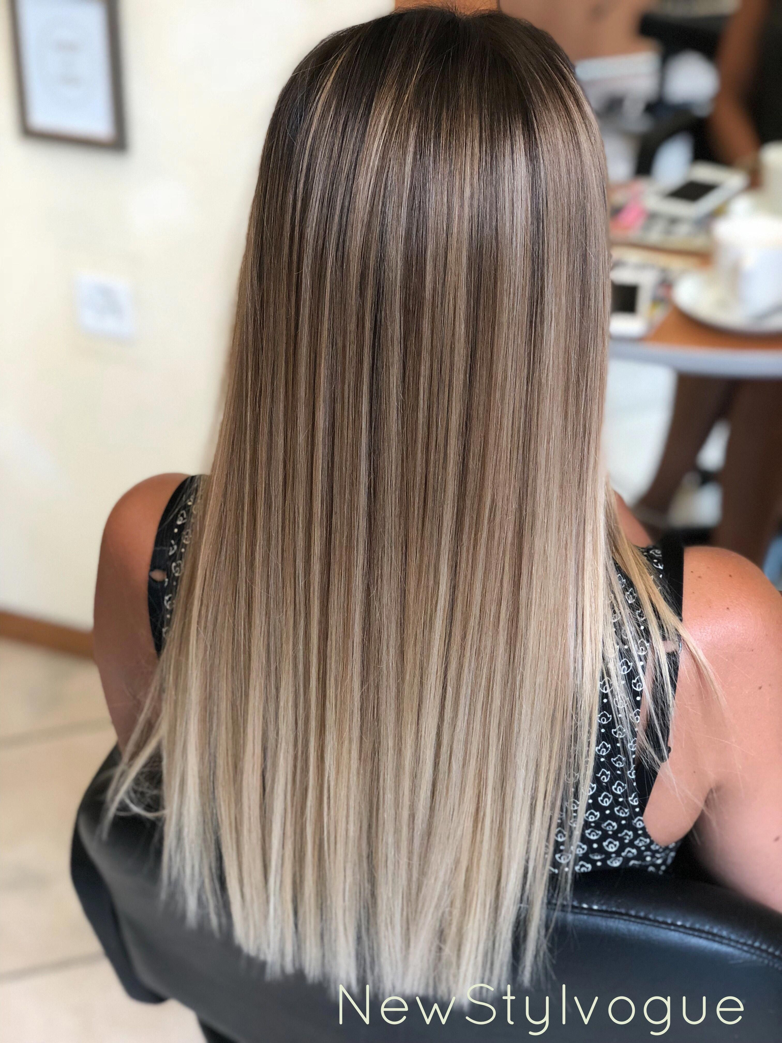 Shadow Sweep Ombrepixiecut Ashblondebalayage Shadow Sweep Ombrepixiecut H In 2020 Balayage Straight Hair Ombre Hair Blonde Hair Styles