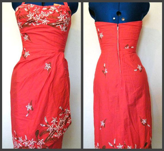 Peggy Wood fin des années 1940 Hawaiian Halter paréo robe saumon rose