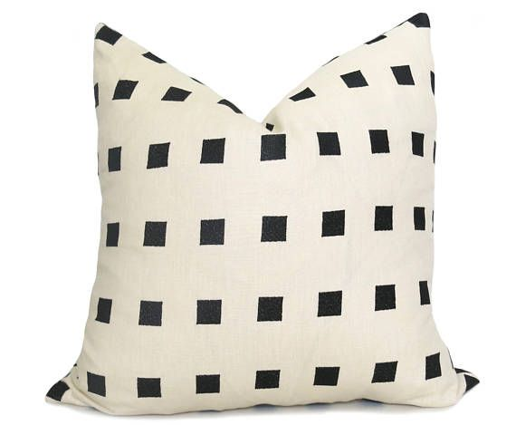 Chalet Pillow Cover Kelly Wearstler Pillow Ebony Black And Ivory Squares Pillow Black Pillow Neutral Pillow Decorative Pillow Embroidered Pillow Covers Pillow Cover Design Designer Pillow