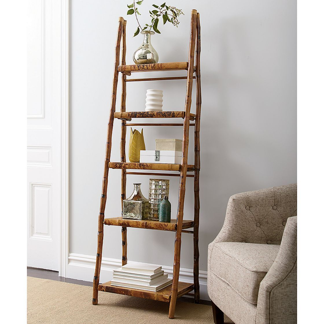 Rattan Bamboo Folding Ladder Shelf The Company Store In