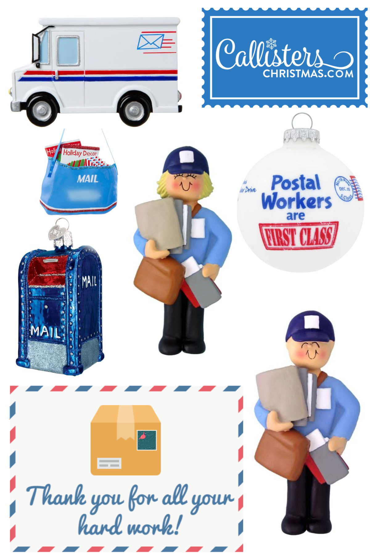 Job Occupation Ornaments Postal Workers Callisters Christmas Postal Worker Old World Christmas Ornaments Old World Christmas