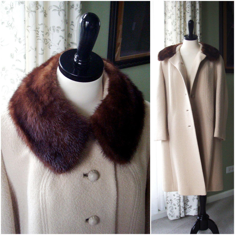 Vintage 1960s Beige Wool Coat with Ranch Mink Collar, Rothmoor ...