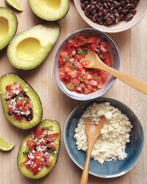 Think of this as an update on the taco bar: Lay out a platter of seasoned, lime-doused avocado halves and bowls of toppings, and let guests help themselves.