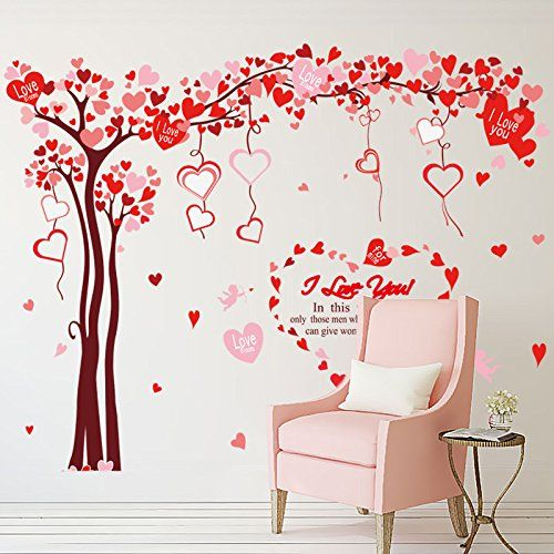 15 Colours Wall Art Love Heart Shapes Vinyl Wall Stickers 10 Pack in 5 Sizes