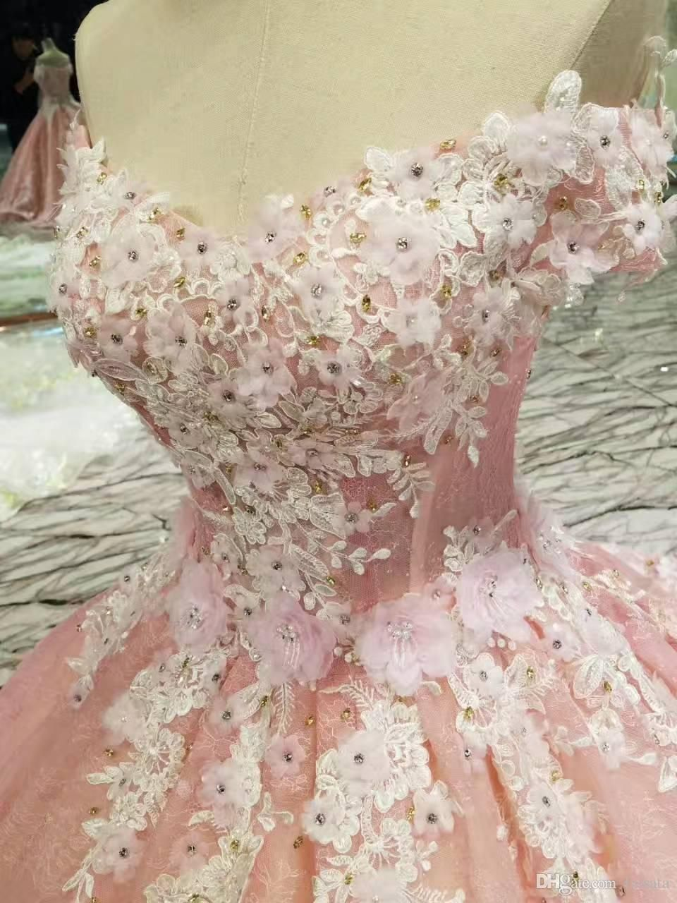 Pink sparkly wedding dresses  Real Photos off the Shoulder Luxury Long Train Lace Beaded Crystals