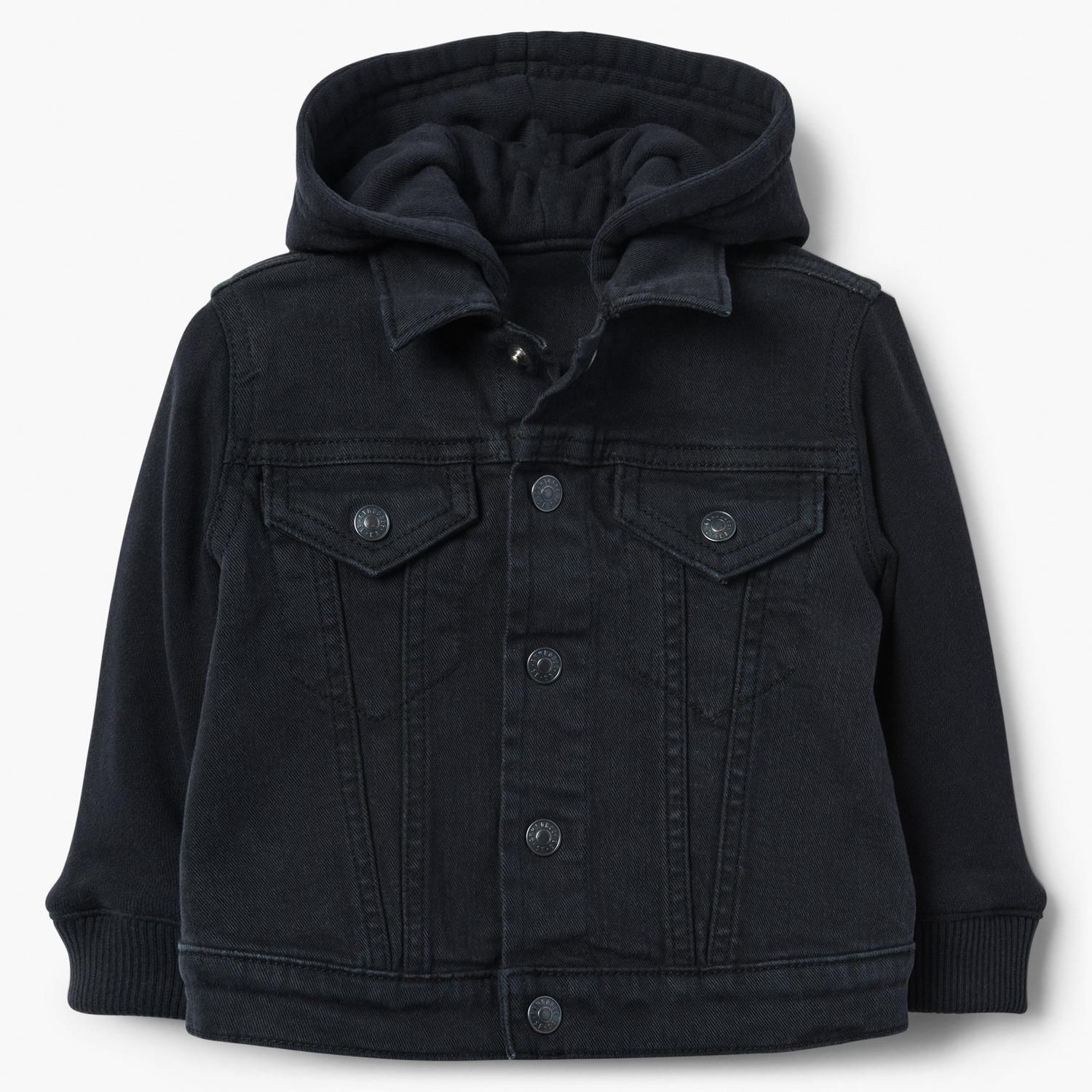 Baby Boy Black Hooded Denim Jacket By Gymboree Trendy Childrens Clothes Toddler Outfits Stylish Denim [ 1500 x 1500 Pixel ]