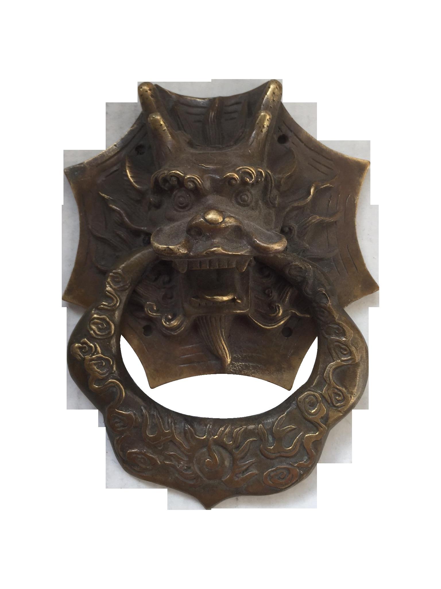 Asian Dragon Brass Door Knocker on Chairish.com