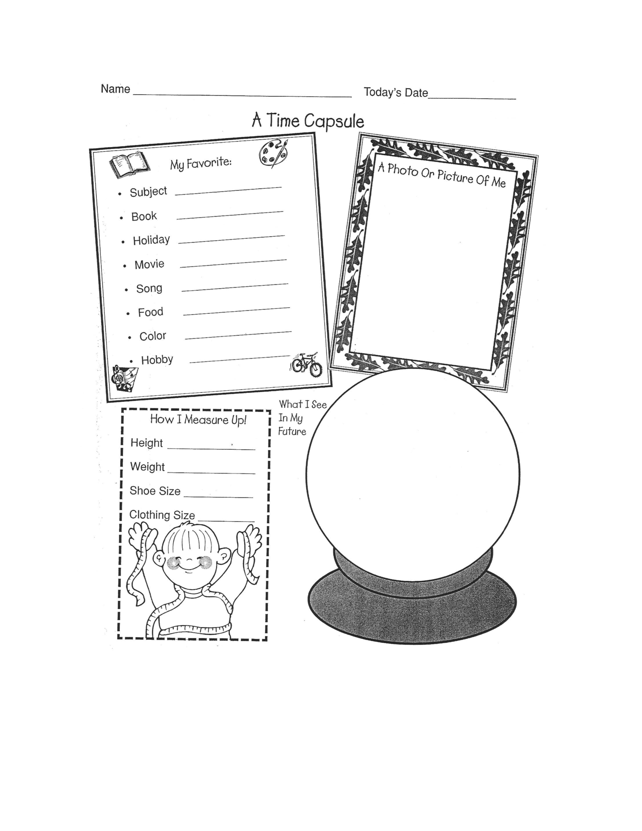 Time Capsule Worksheet Classroom End Of The Year Pinterest
