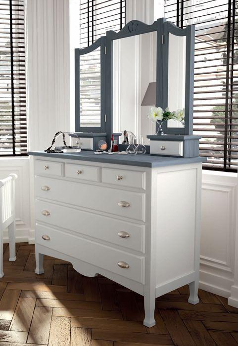cómoda bicolor estilo #clasico fabricada en madera maciza de pino ...