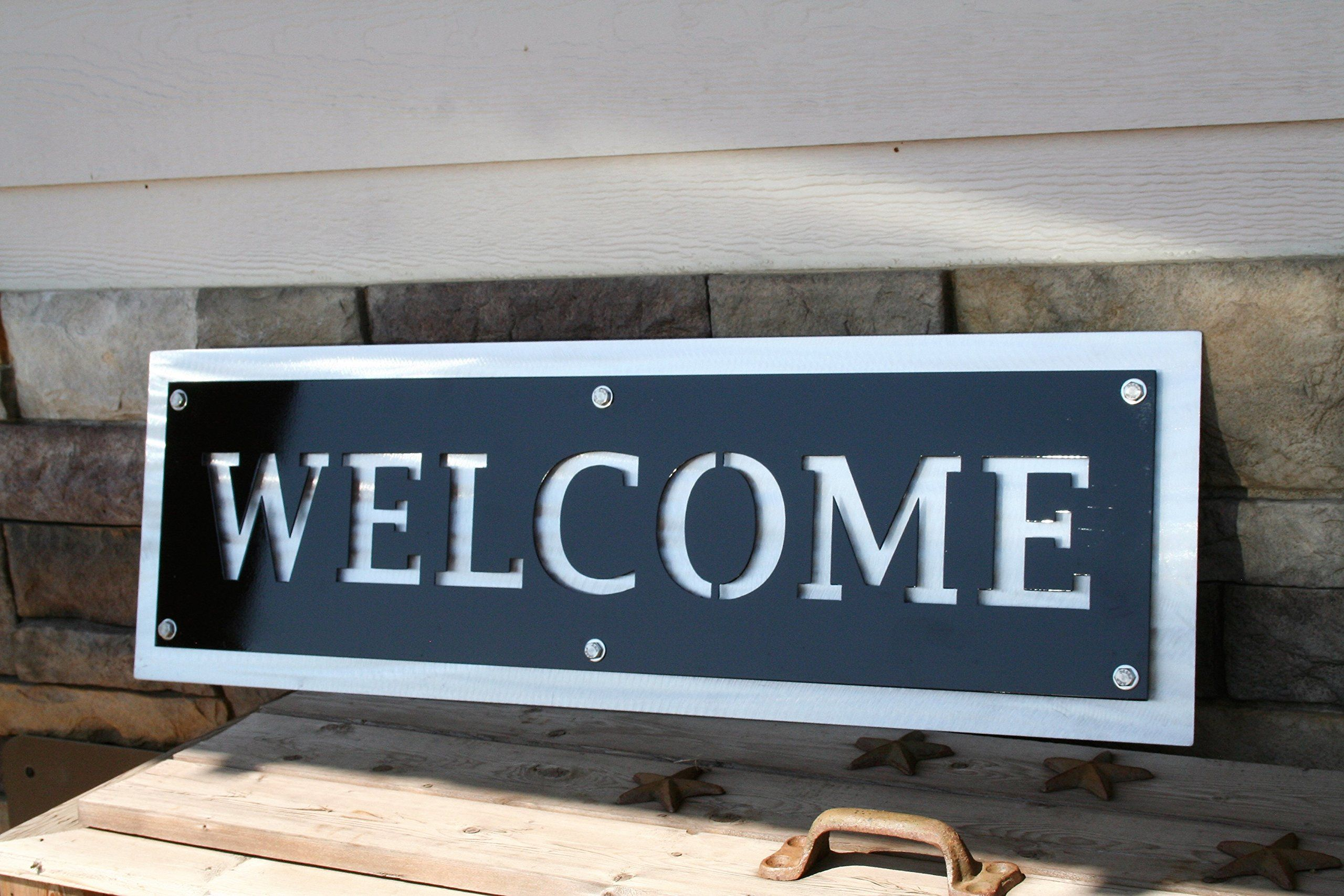 Black and Silver Modern Metal Welcome Sign, Wide Hanging Welcome ...