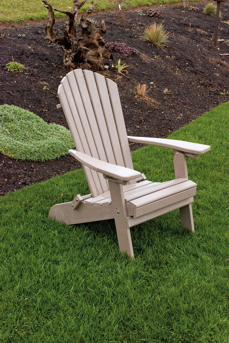 Folding and reclining polywood adirondack chair weathered wood