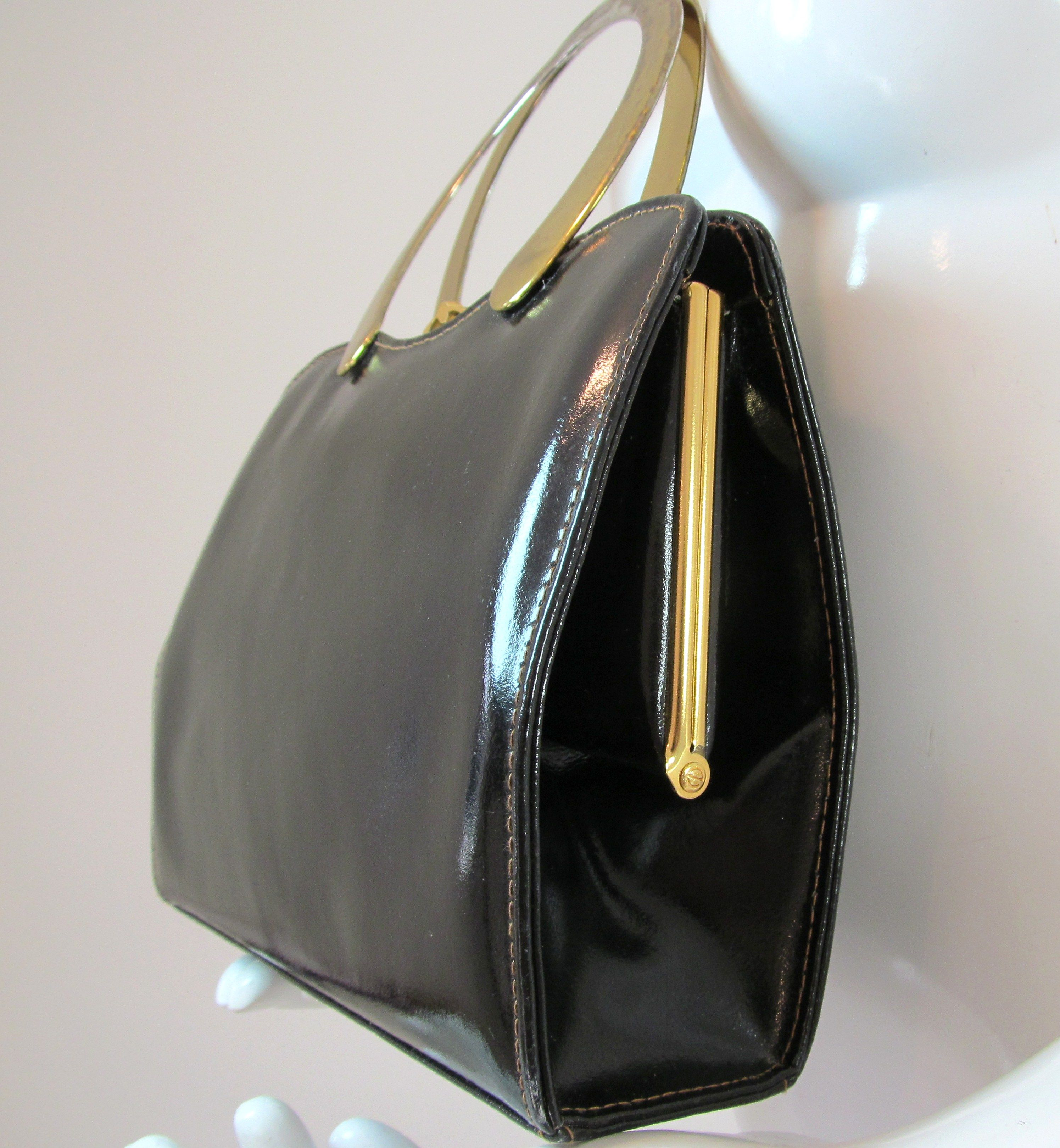 Vintage Ackery London Black Shiny Leather 40 50 S Clip Top Handbag Purse R10490