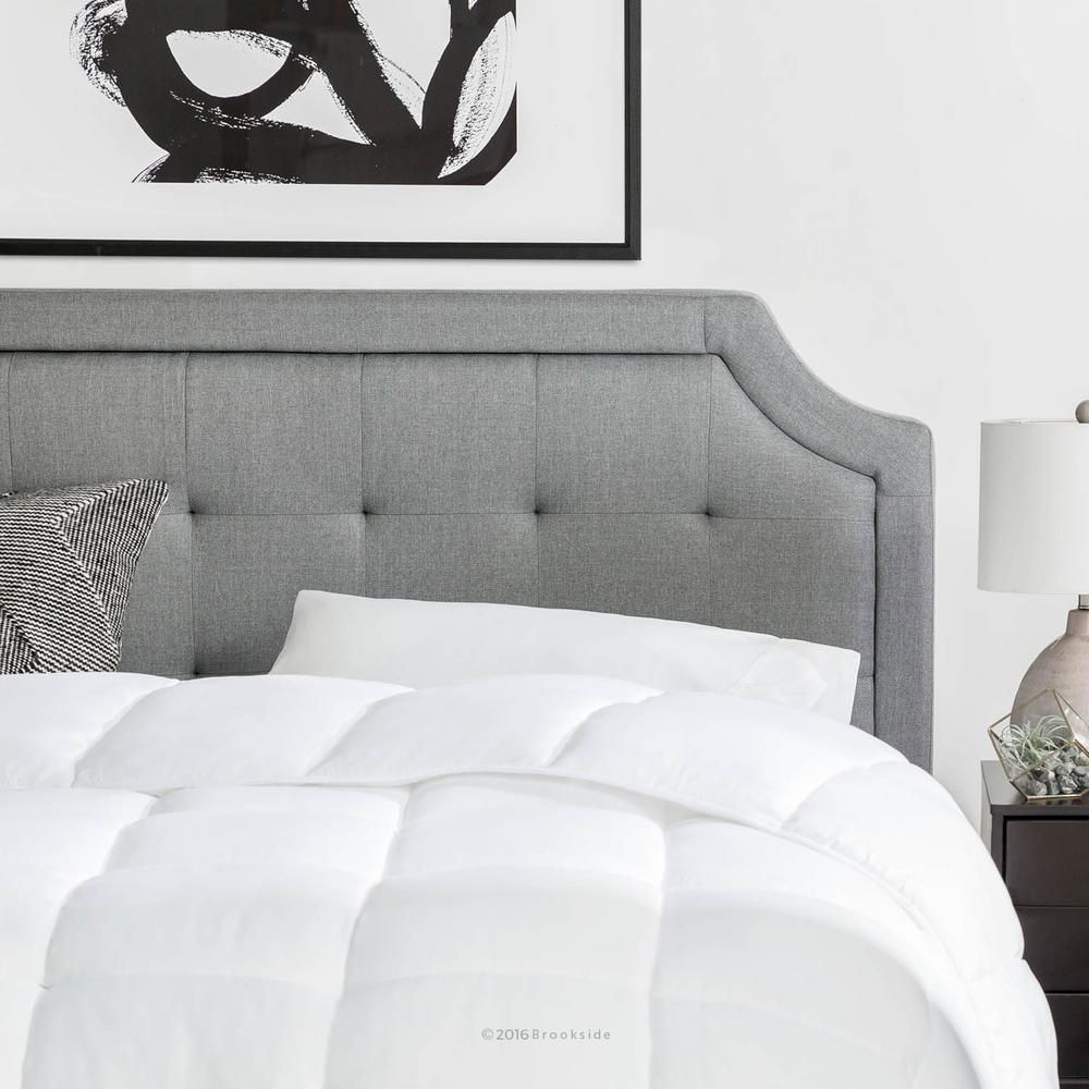 Brookside Upholstered Scoop Edge King Cal King Headboard With Square Tufting In Stone Grey Cal King Headboard Headboards For Beds White Headboard