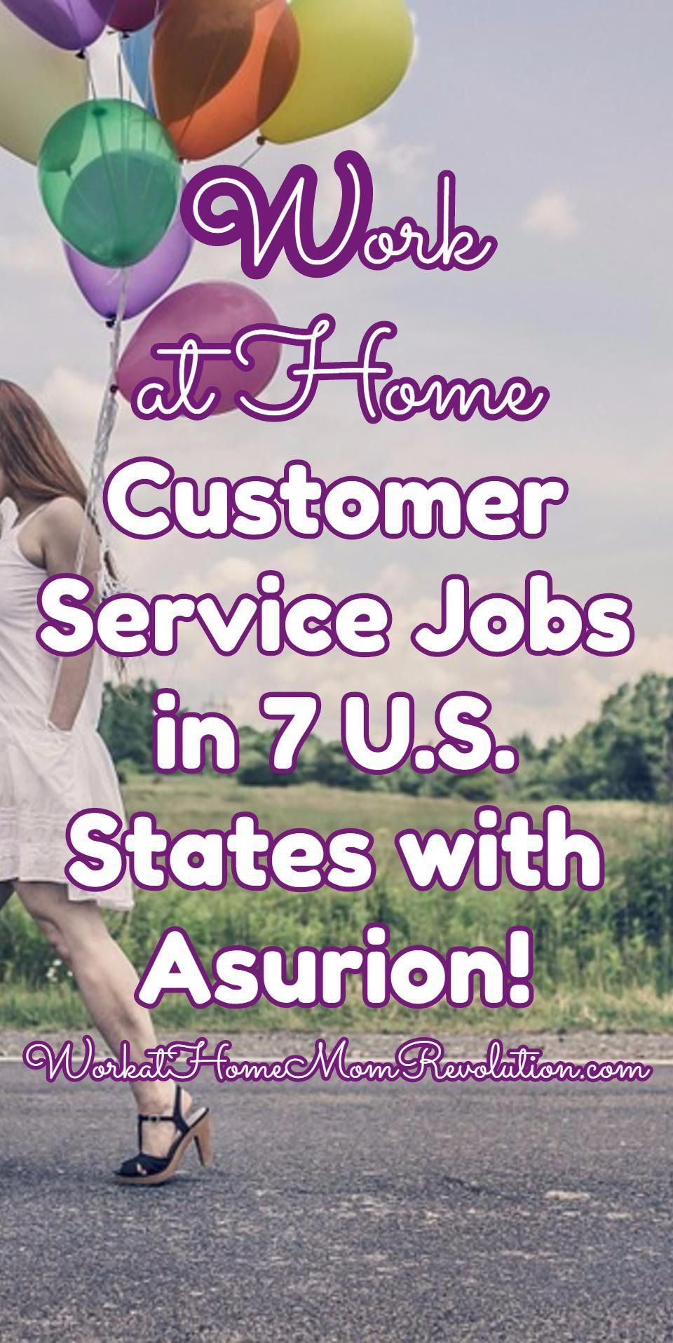 Work at Home Customer Service Jobs in 7 U.S. States with Asurion! Asurion is hiring work at home customer support agents in 7 U.S. states!