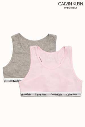 eed39cc85fd3c Girls Calvin Klein Pink Bralette Two Pack - Pink