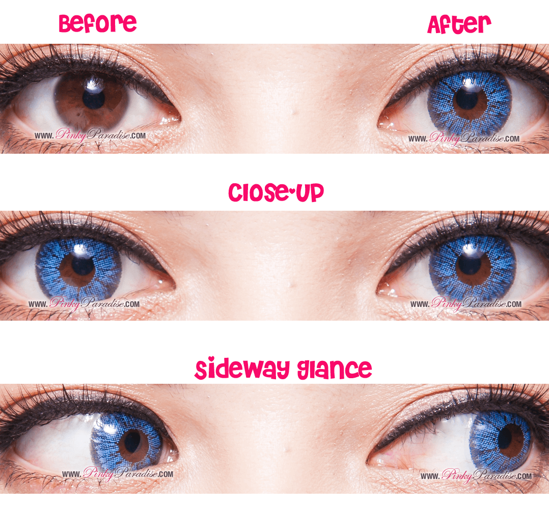 Super Pinky Blue Pink Before After | C2E2 | Pinterest | Circle lenses