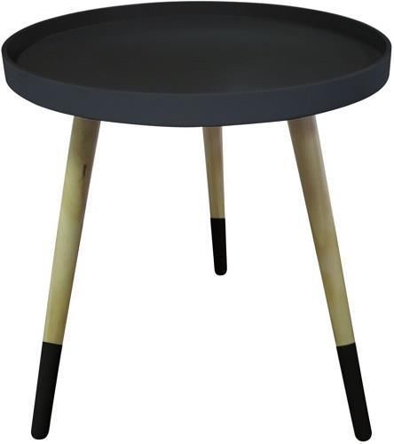 NEW Retro Black Timber 3 Leg Dipped Tray Round Side Table Stool Bedside  Coffee