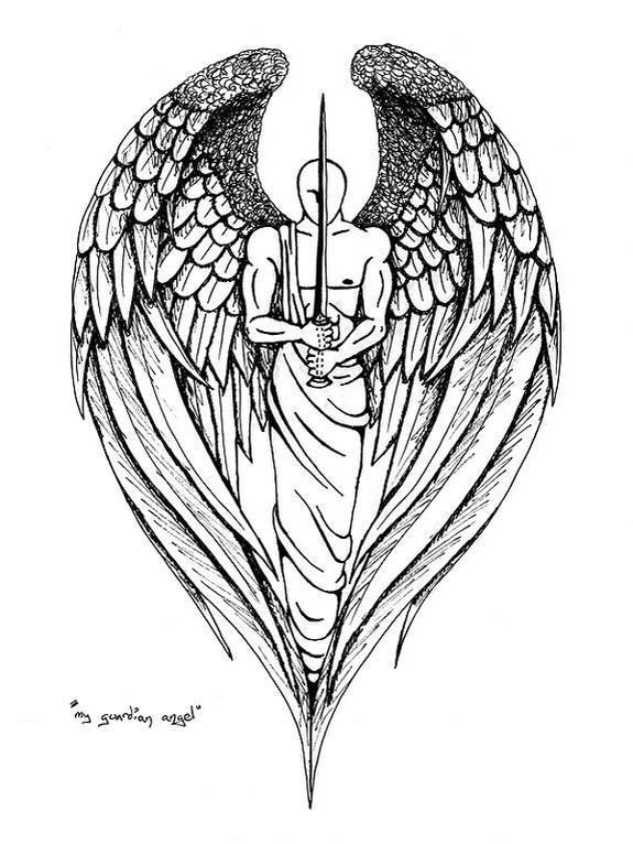 Stencil Protector Guardian Angel Tattoo Designs