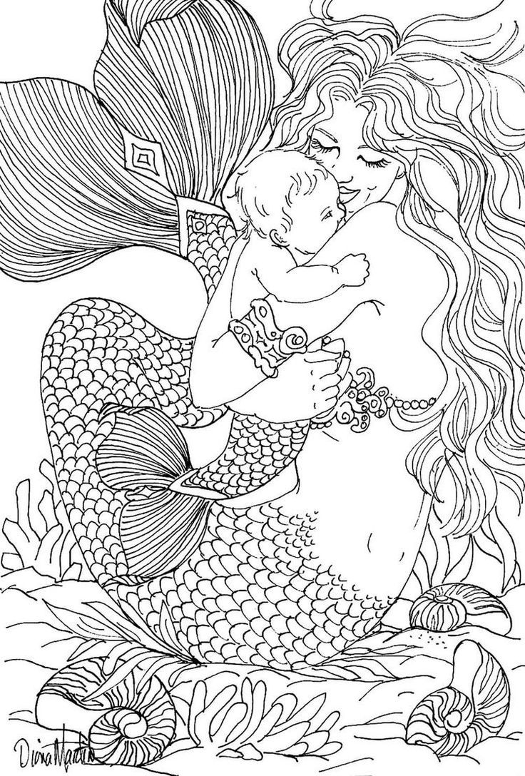 Free coloring page coloring-adult-mermaid-and-child-drawing-by ...