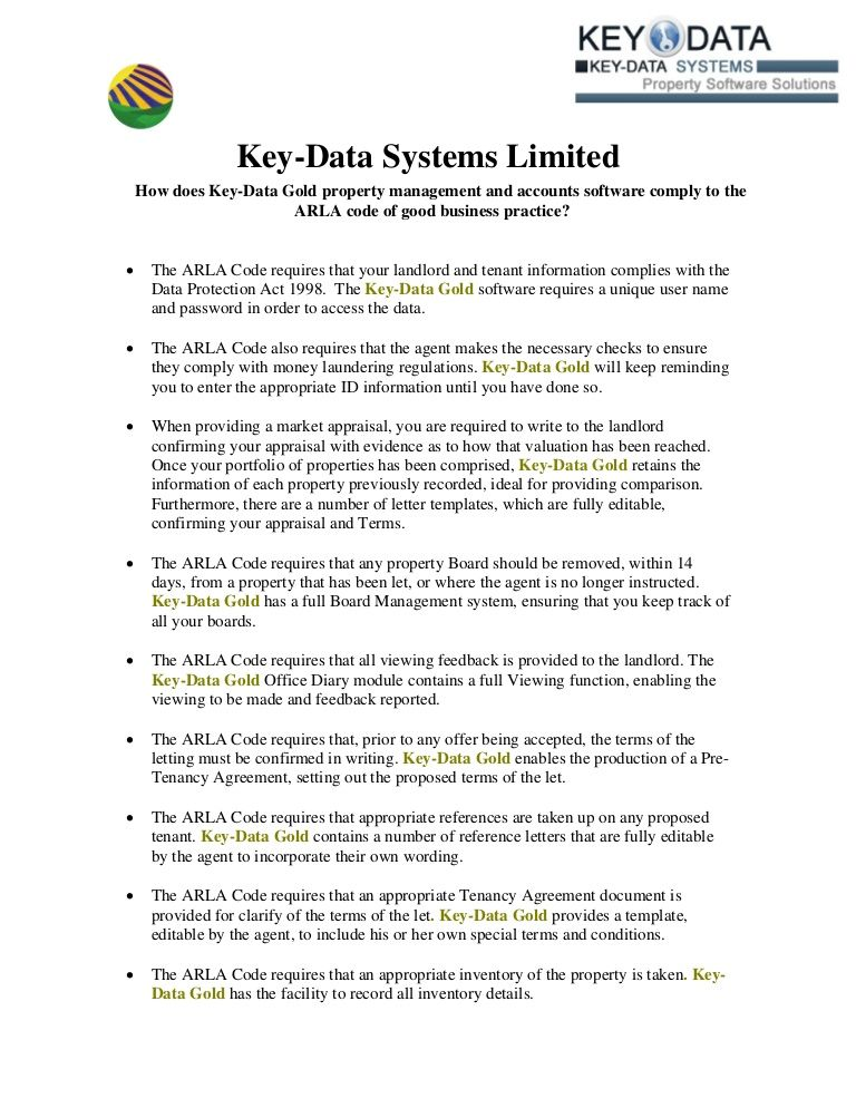 Are You a Member of ARLA KeyData Systems Limited Being