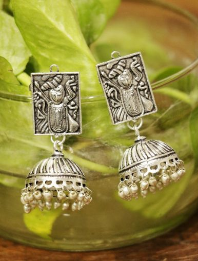 Stunning Oxidized Earrings With Jhumki Frame