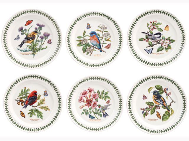 Portmeirion Botanic Garden Birds Set Of 6 Assorted Dinner Plate ポー