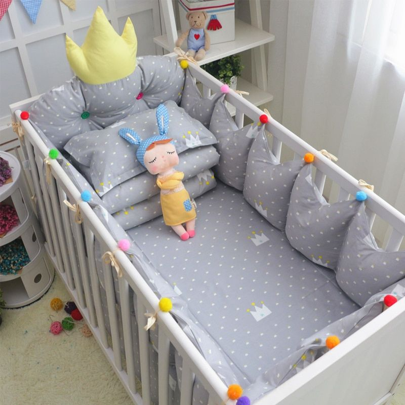 Hot Crown 5 Pcs Detachable Crib Bedding Safe Protect Bumpers Bed