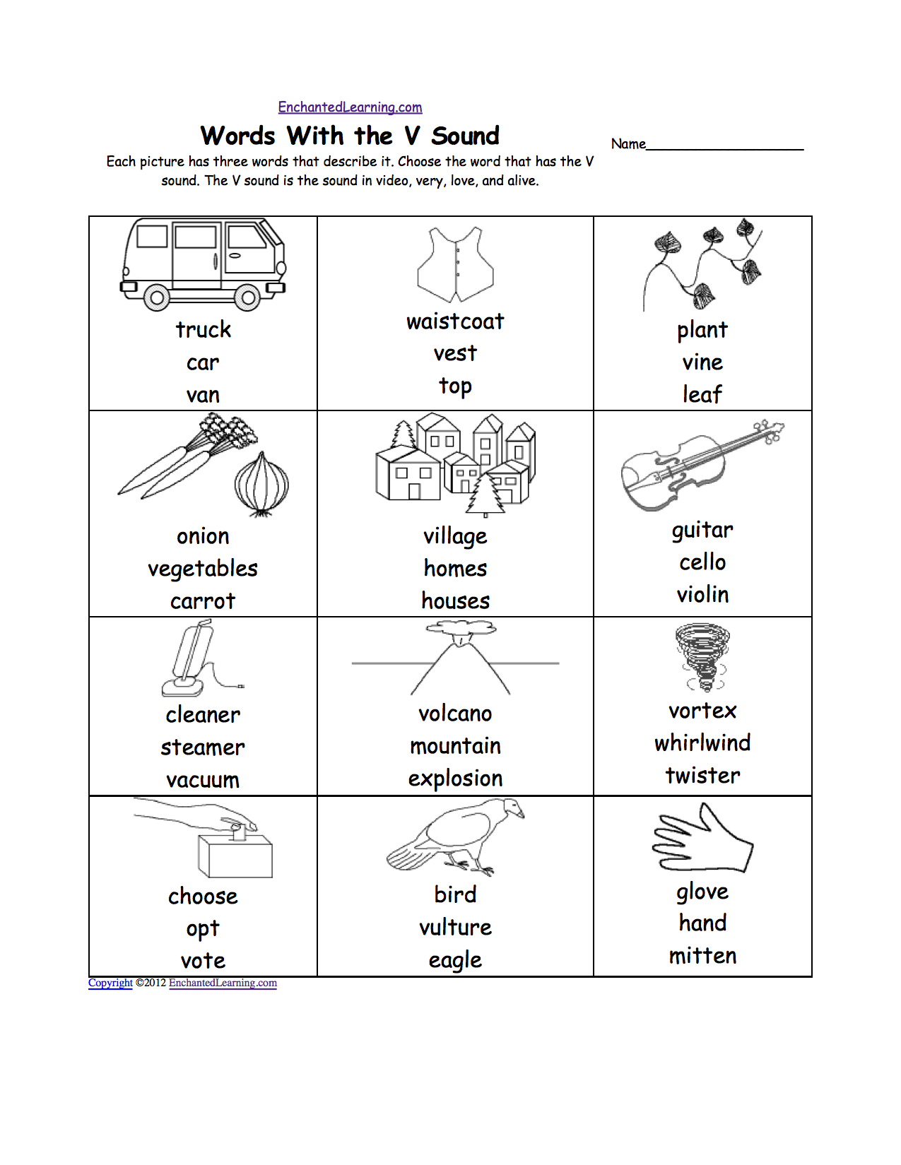 pre k worksheets | Letter V Alphabet Activities at EnchantedLearning ...