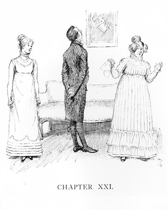 Scene from 'Pride and Prejudice' by Jane Austen (1775-1817) (engraving) (b/w photo) by Thomson, Hugh (1860-1920); Private Collection; British, out of copyright