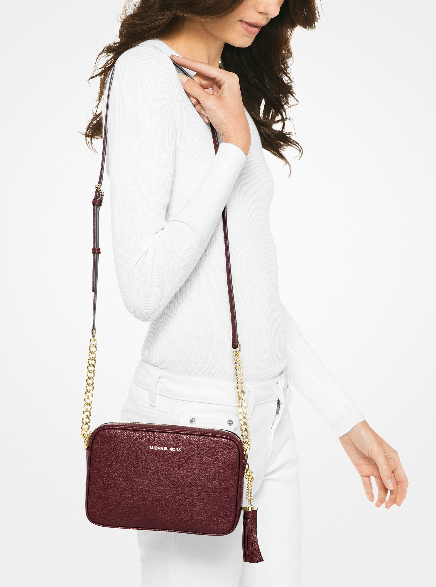 179630a626a1 Michael Kors Ginny Leather Crossbody - Oxblood