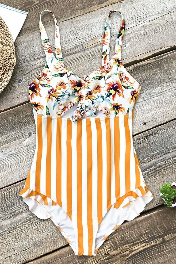 e9a926c9d2 #Valentine's Day Sale! #EnvyWe #CupShe - #CUPSHE Orange Floral and Stripe  One-Piece Swimsuit - EnvyWe.com