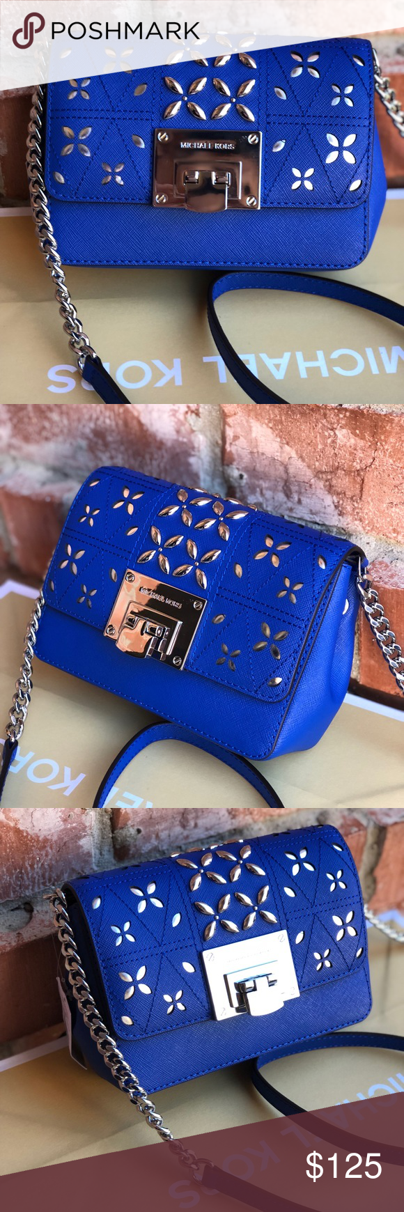 8de980eee052 Michael kors Tina small clutch crossbody bag Color: Electric Blue Perforated  Stud Saffiano Leather Clutch